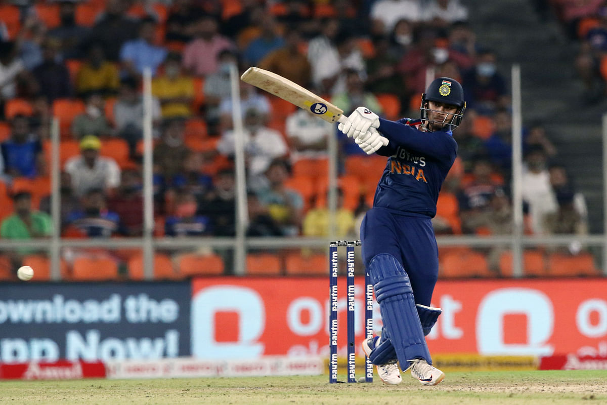 Gujarat, March 14 (ANI): Indias Ishan Kishan plays a shot during the 2nd T20 match between India and England at Narendra Modi Stadium in Ahmedabad on Sunday.