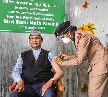 President Ram Nath Kovind receives the first dose of Covid-19  vaccine during the second phase in New Delhi.