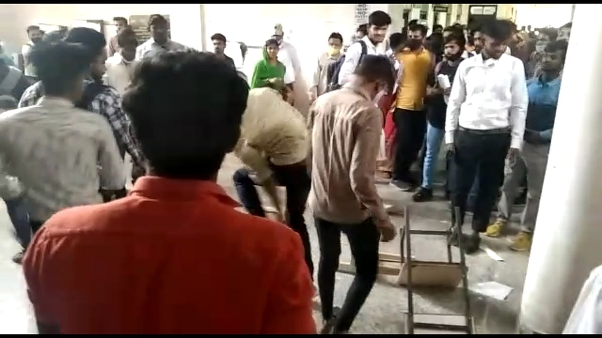 Chaos prevailed on Madhav College premises in Ujjain on Friday