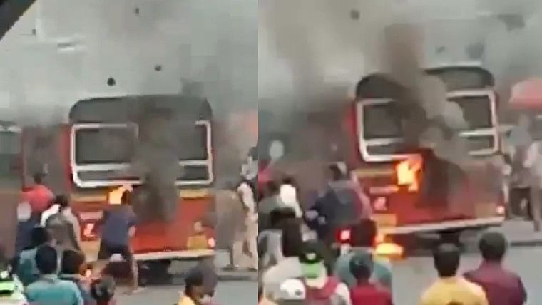 BEST bus catches fire at Mumbai's Bhandup, no casualty reported
