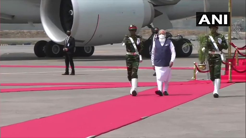 Prime Minister Narendra Modi being accorded Guard of Honour upon his arrival in Bangladesh. Visuals from Hazrat Shahjalal International Airport in Dhaka.