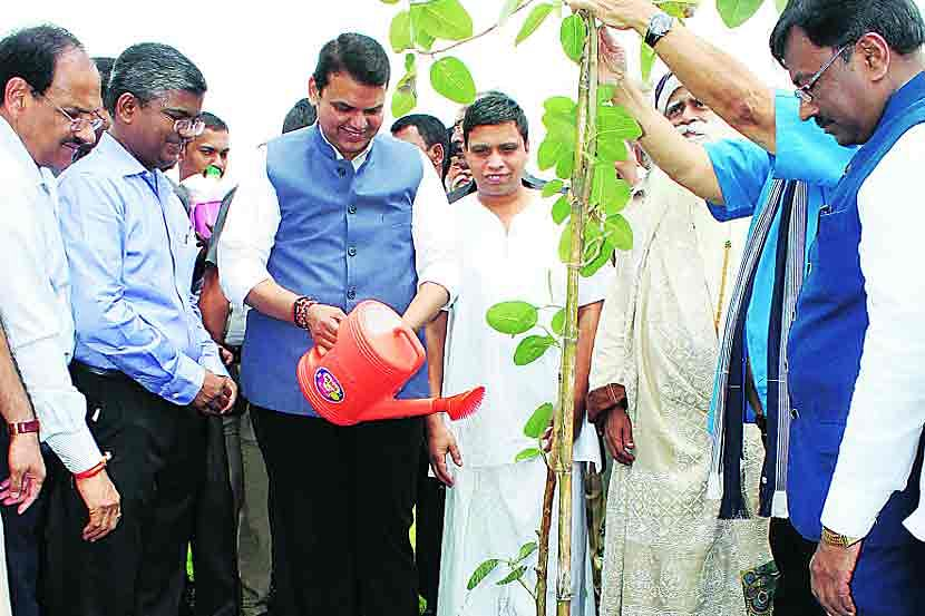 Former Chief Minister of Maharashtra during one of the tree plantation drives
