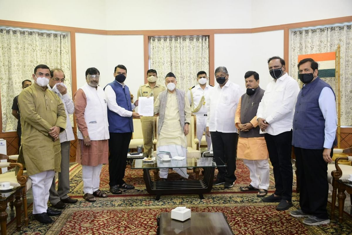 Did BJP leader Radhakrishna Vikhe Patil forget to carry his mask while meeting Governor Bhagat Singh Koshiyari? Pictures here