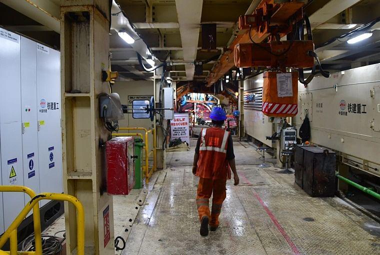 A worker inside the Tunnel Boring Machine (TBM) - Mavala
