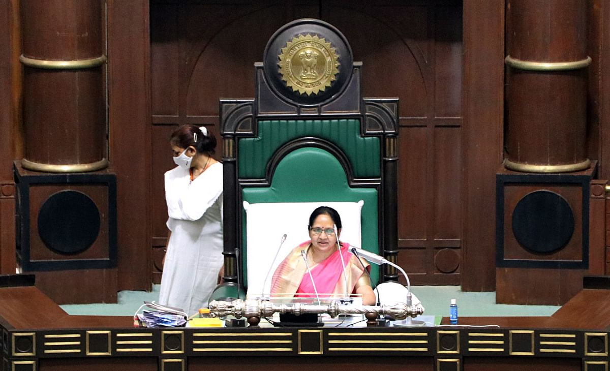 Jhuma Solanki, member of the Madhya Pradesh Legislative Assembly conducts the session of the Madhya Pradesh State Assembly during the Budget session on the occasion of International Women's Day in Bhopal on Monday.