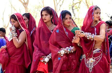 Tribal girls at Bhagoria fair in Alirajpur district