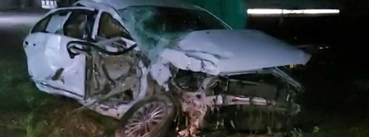 A damaged car following accident on Lebad-Nayagaon national highway on February 15, 2021