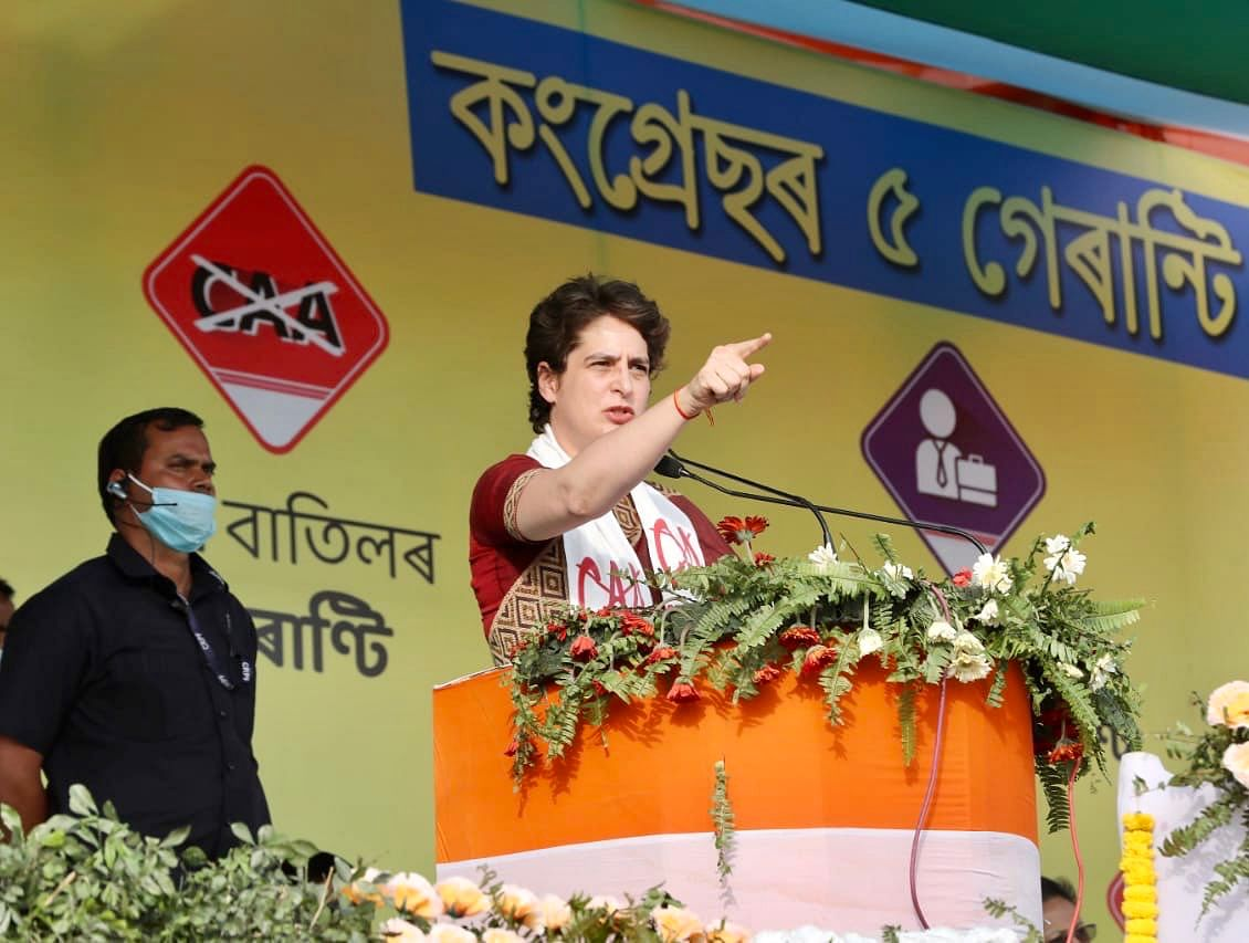 Priyanka Gandhi announces Congress' five poll guarantees in Assam: 5 lakh govt jobs, law to nullify CAA and more