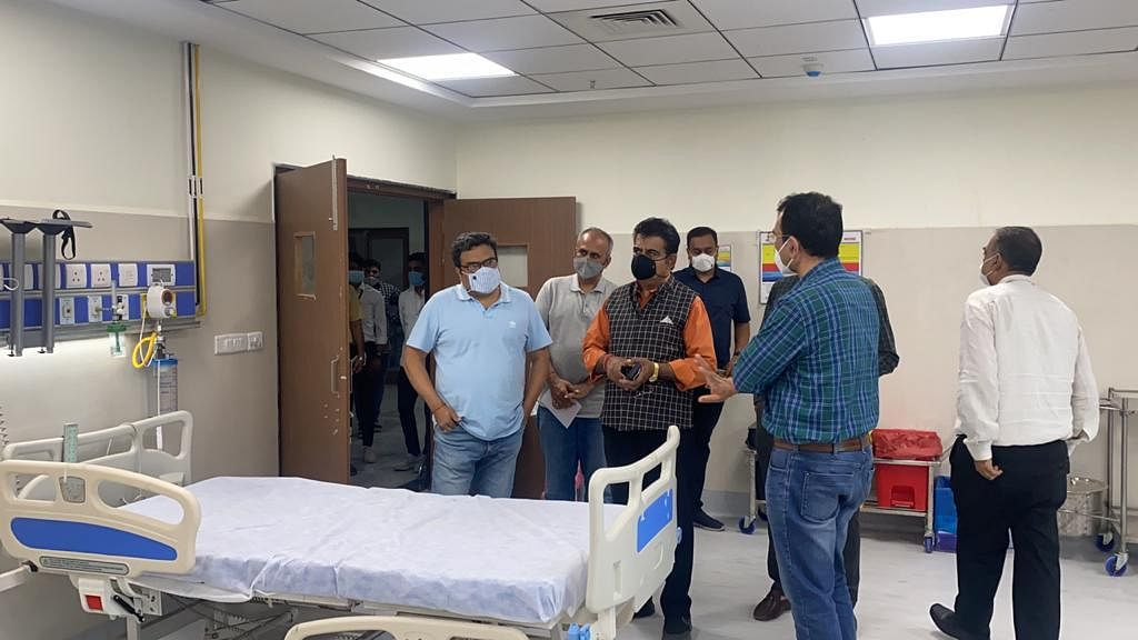 Inspecting facilities at Super Speciality Hospital