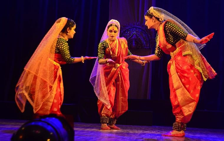 A scene from a dance drama 'Aadishakti,' being staged at the Shaheed Bhawan in the city on Monday evening