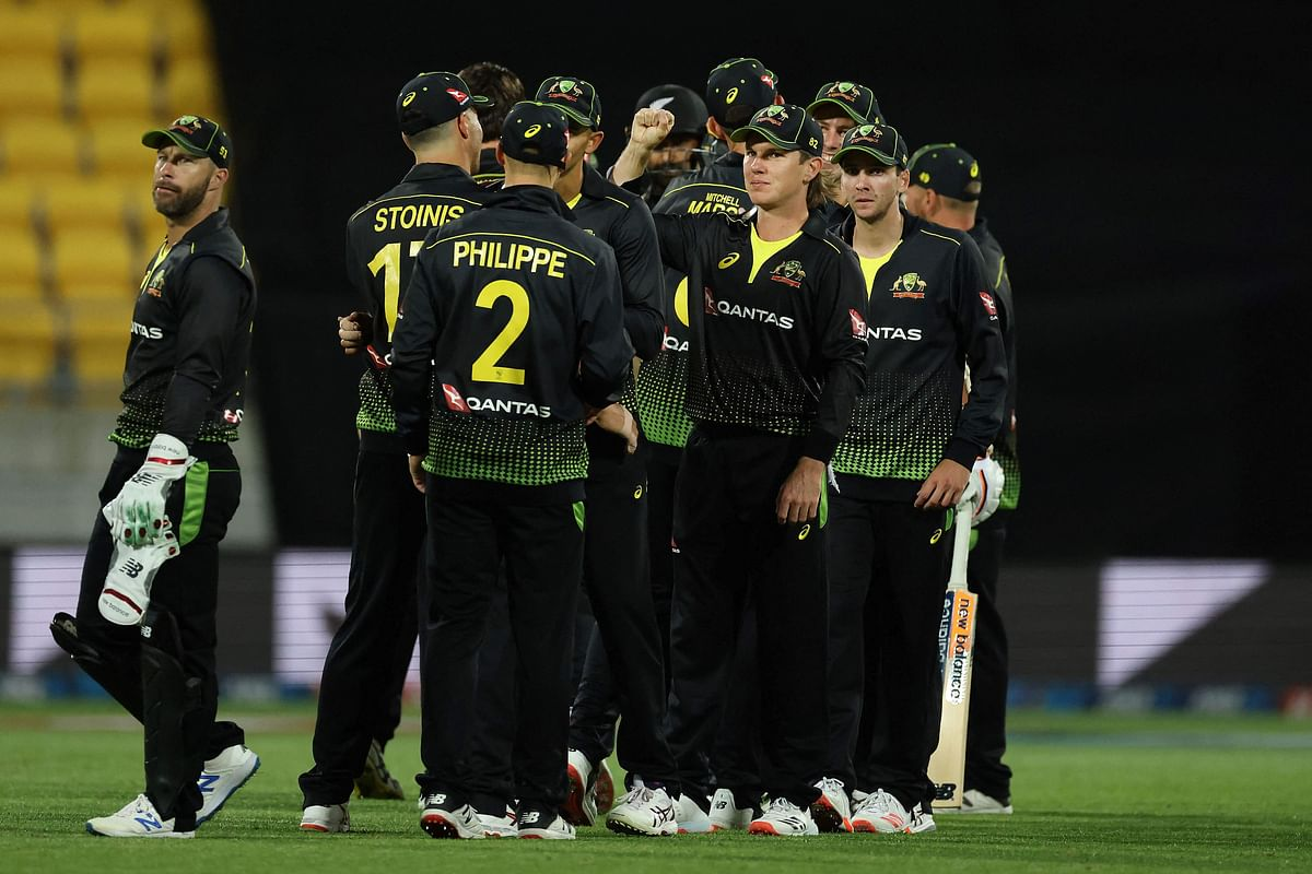 Australian players celebrate after the victory