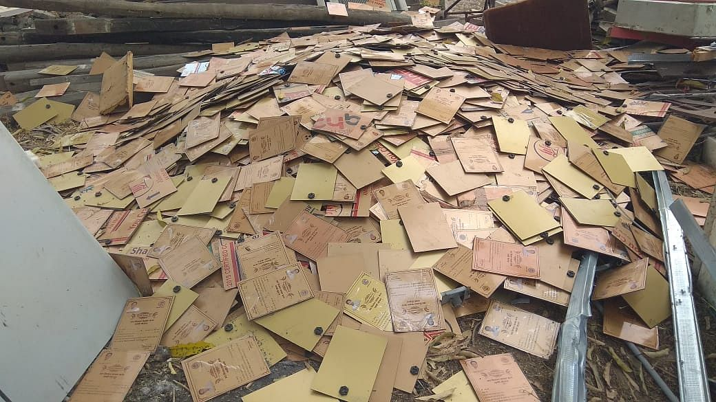 Certificates scattered over a scrap vendor's shop in Ujjain