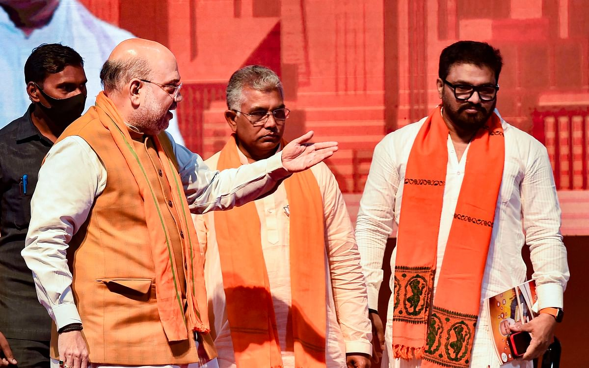 Kolkata: Union Home Minister Amit Shah after releasing the BJP manifesto ahead of West Bengal Assembly Elections, in Kolkata, Sunday, March 21, 2021. (PTI Photo)