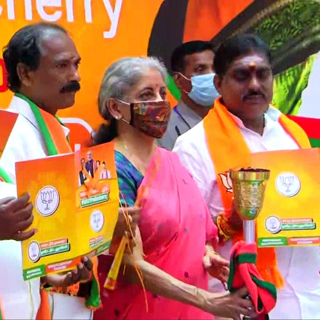 'It speaks about nyay': Nirmala Sitharaman releases BJP's manifesto for Puducherry assembly elections