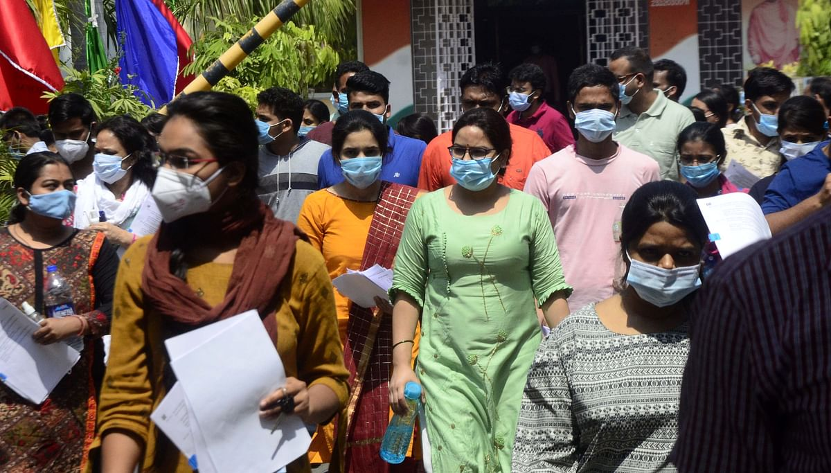 MPPSC candidates come out  after appearing for the examination at Subhash School in Bhopal on Sunday.