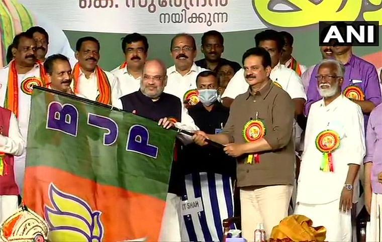 Kerala Polls: Actors Devan, Radha, former bureaucrat KV Balakrishnan join BJP in presence of Amit Shah