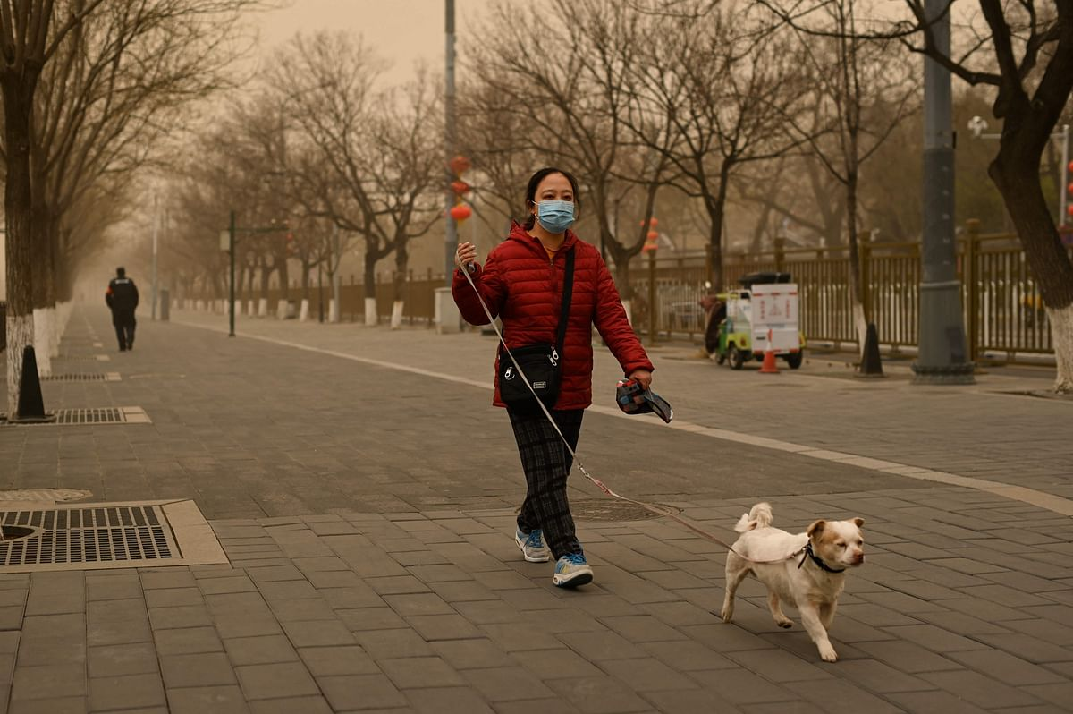 A woman walks her dog during a sandstorm in Beijing on March 15, 2021.