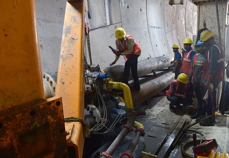 Workers and engineers inside the Tunnel Boring Machine (TBM) - Mavala