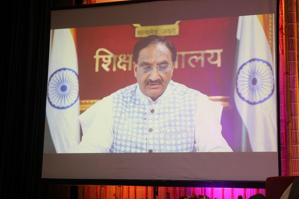 Union education minister Ramesh Pokhariyal Nishank addresses the valedictory session of Sarthak EduVision online on Wednesday