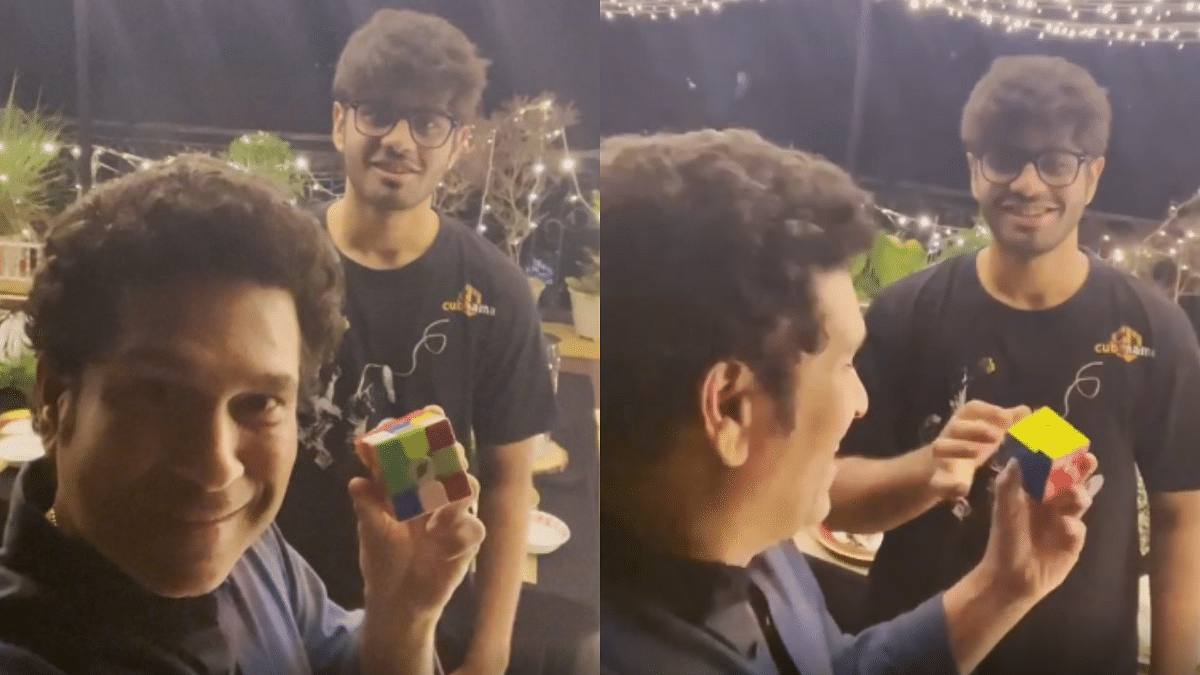 """When G.O.A.T.S. meet each other"": Sachin Tendulkar meets Rubik cube Guinness record holder Mohammed Aiman Koli"