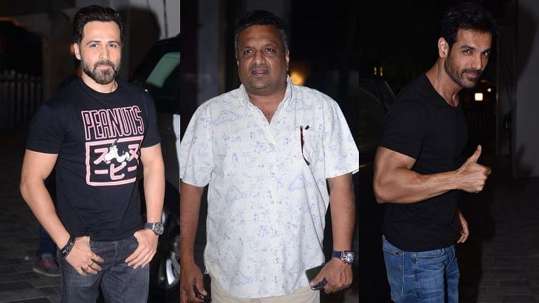 In Pics: Emraan Hashmi, John Abraham, Sanjay Gupta arrive for promotions of 'Mumbai Saga'