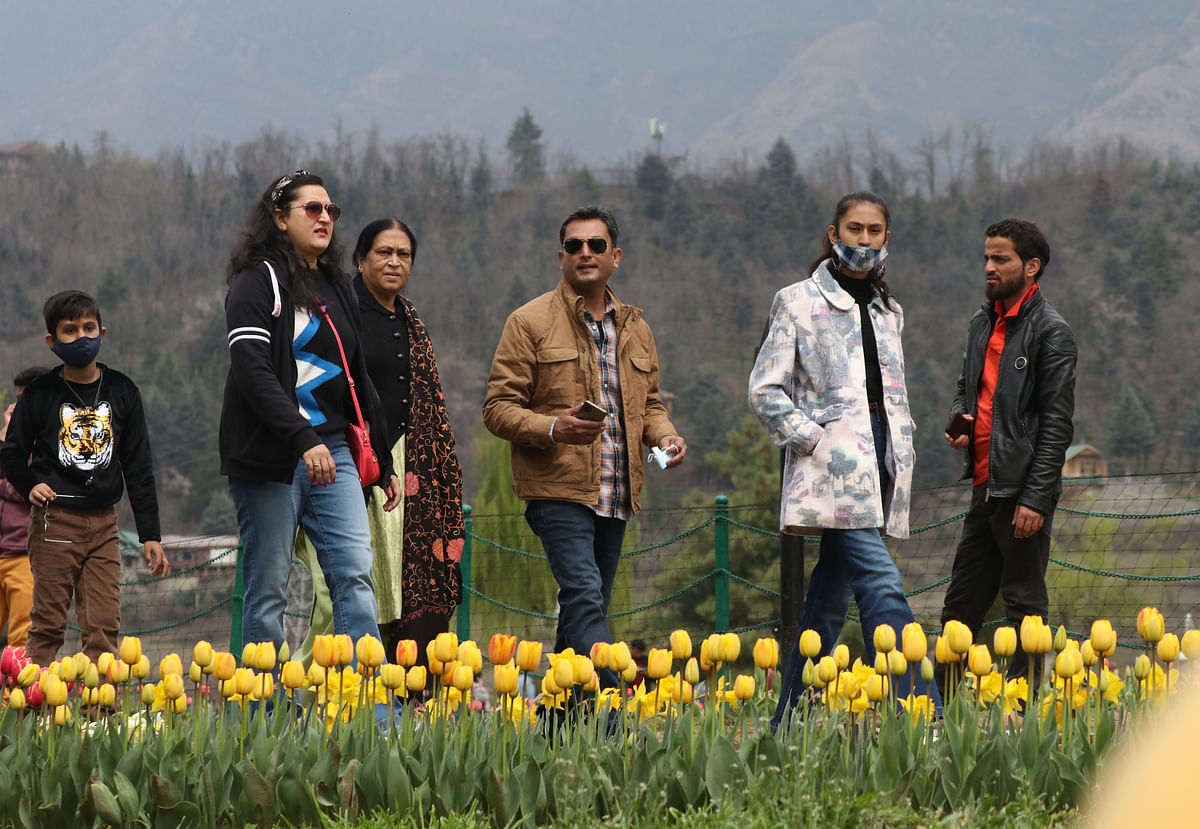 Visitors can be seen inside the Asia's largest Tulip Garden in Srinagar, Kashmir.