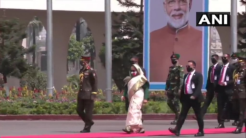 Prime Minister of Bangladesh, Sheikh Hasina arrives at Hazrat Shahjalal International Airport in Dhaka to receive PM Narendra Modi as he commences his two-day visit to the country.
