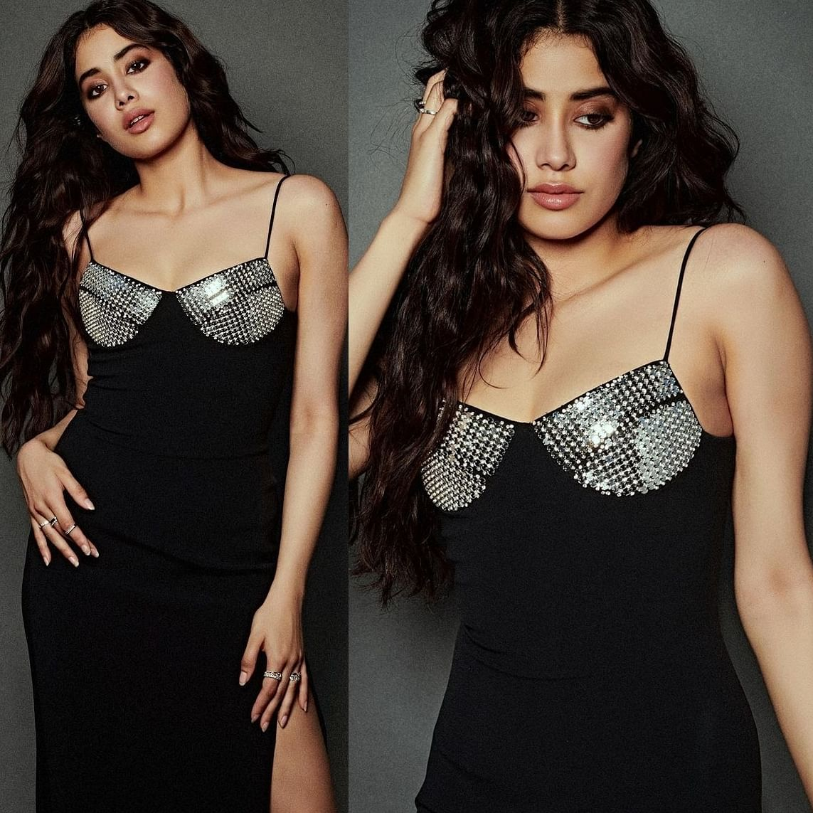 In Pics: Janhvi Kapoor exudes glamour in black thigh-high slit dress worth Rs 1.2 lakh