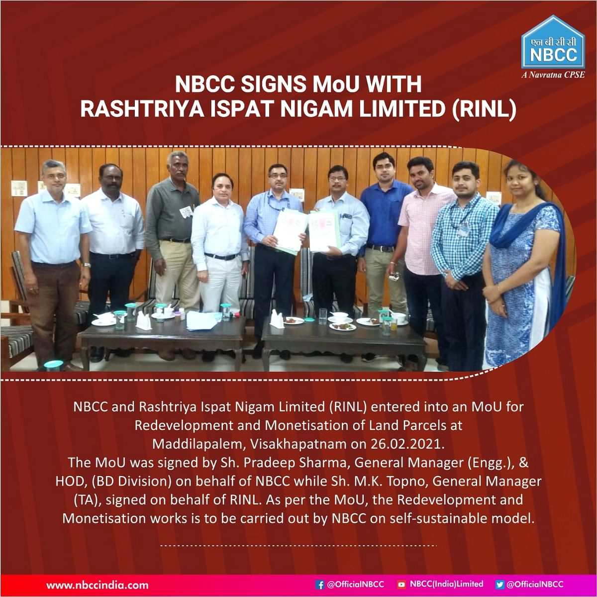 NBCC signs MoU with Rashtriya Ispat Nigam Limited (RINL)
