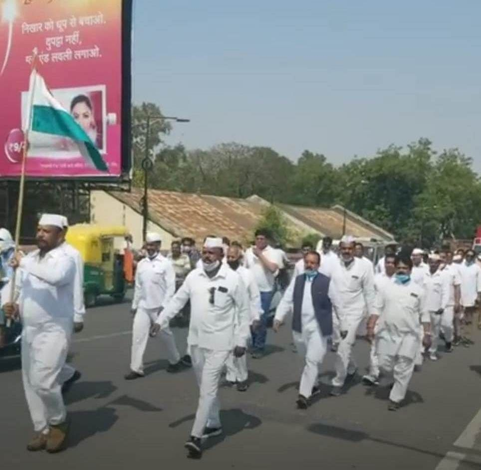 Bhopal: Congress takes out Tiranga Yatra to recall fall of Kamal Nath government by 'undemocratic forces'