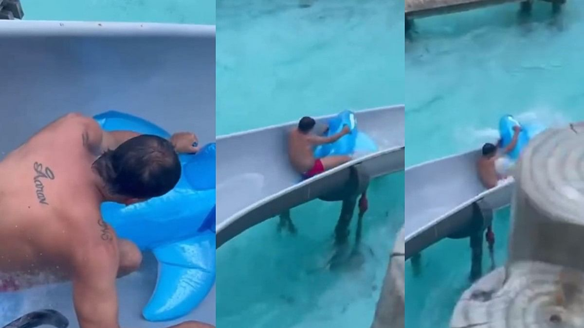 Watch: Action star Akshay Kumar struggles to go down a water slide; daughter Nitara can't stop laughing