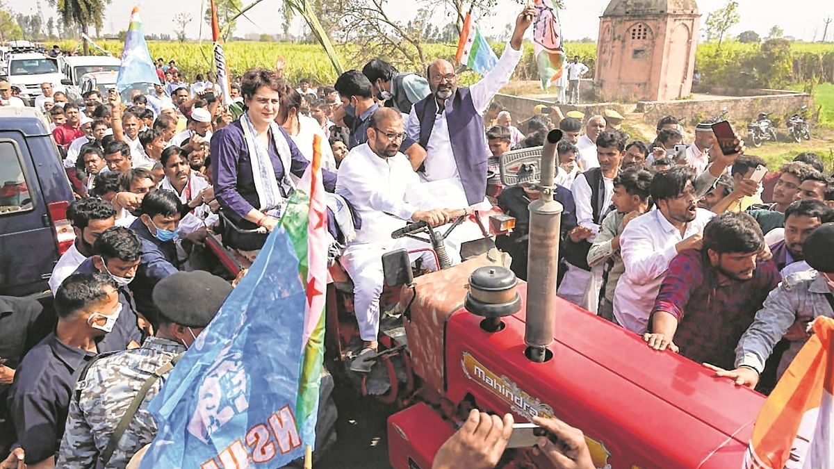 Congress leader Priyanka Gandhi Vadra sits on a tractor as she attends Kisan Panchayat, in Meerut on Sunday.