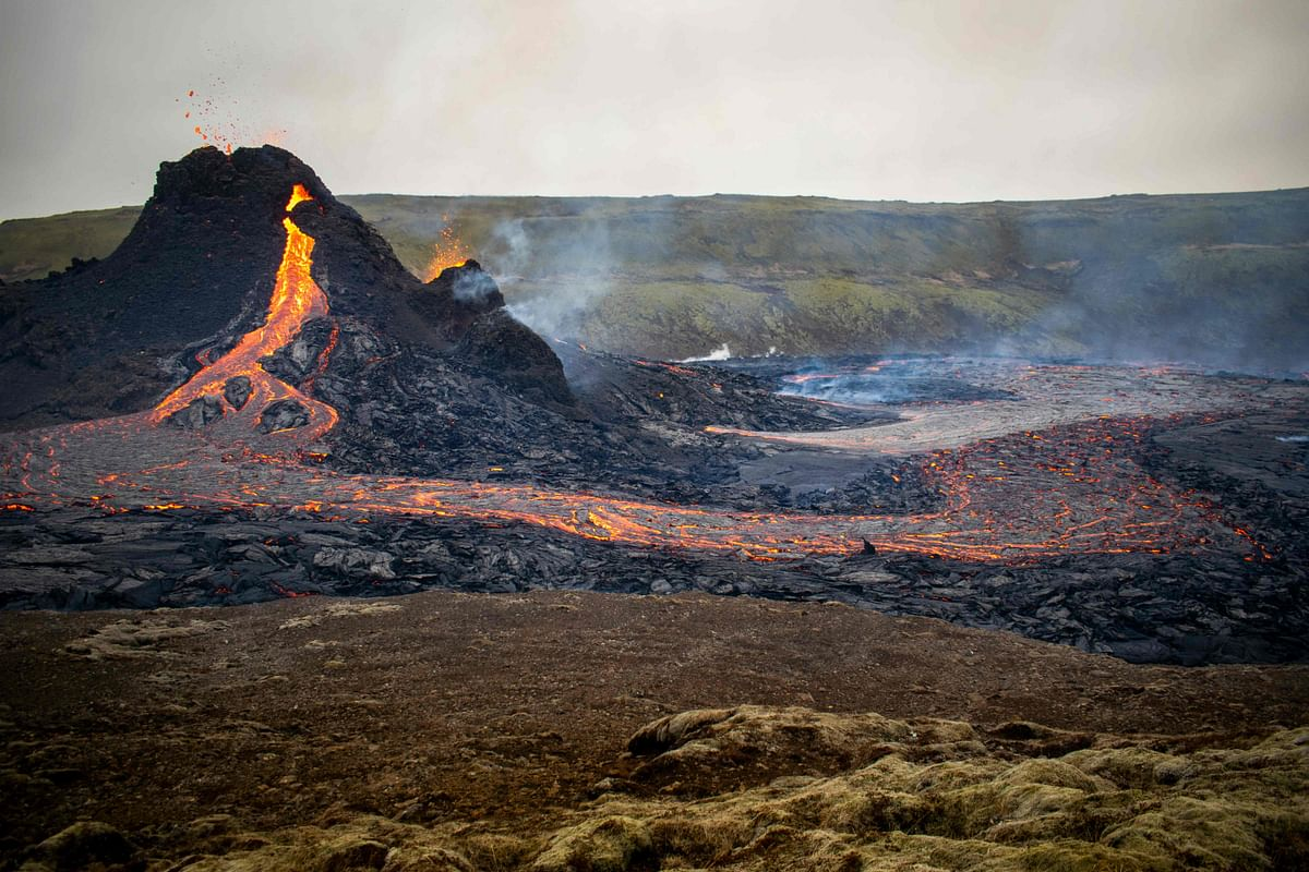 Lava flows from the erupting Fagradalsfjall volcano some 40 km west of the Icelandic capital Reykjavik, on March 21, 2021