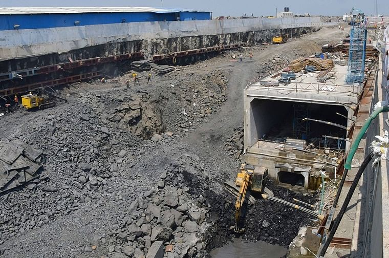 Work being carried out at the excavation site of Coastal Road Project