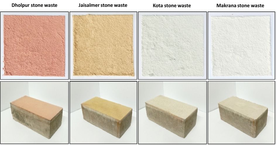 Bricks made from stone wastes, corresponding bi-layered Bricks