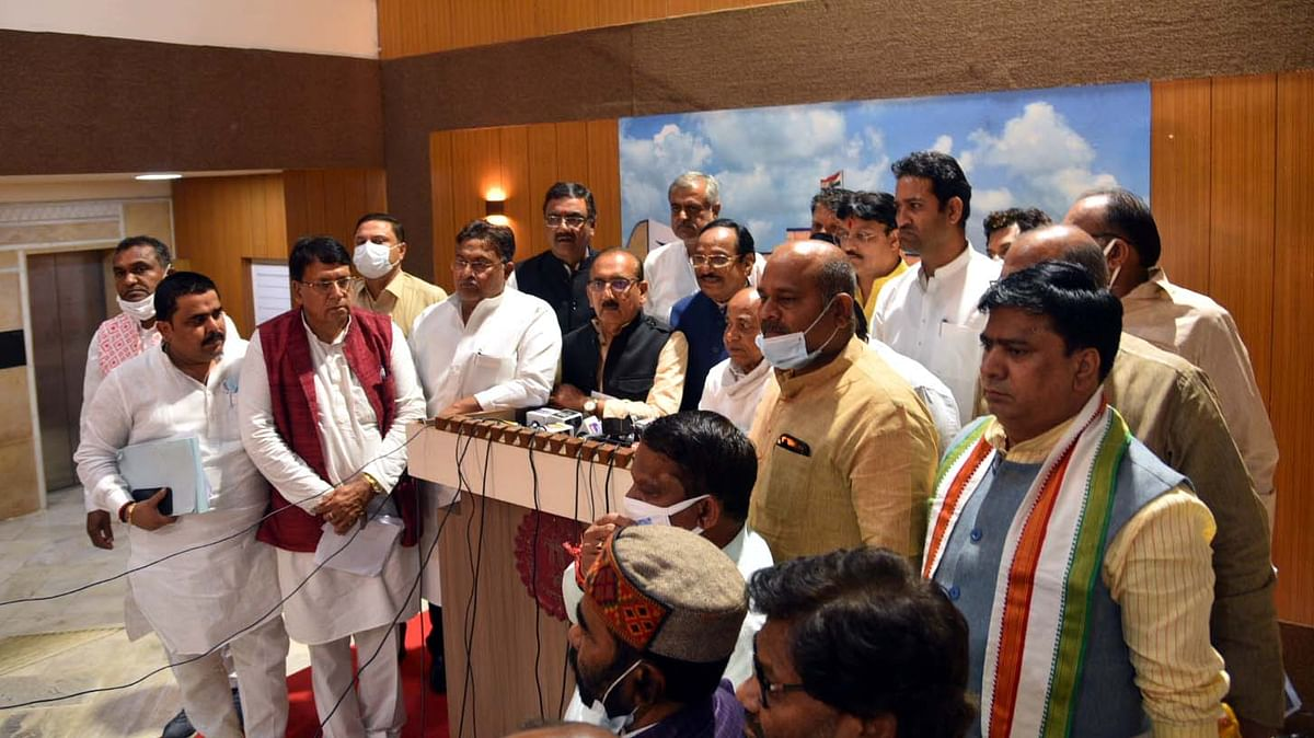 Congress MLA Dr Govind Singh interacts with media at Vidhan Sabha on Tuesday.