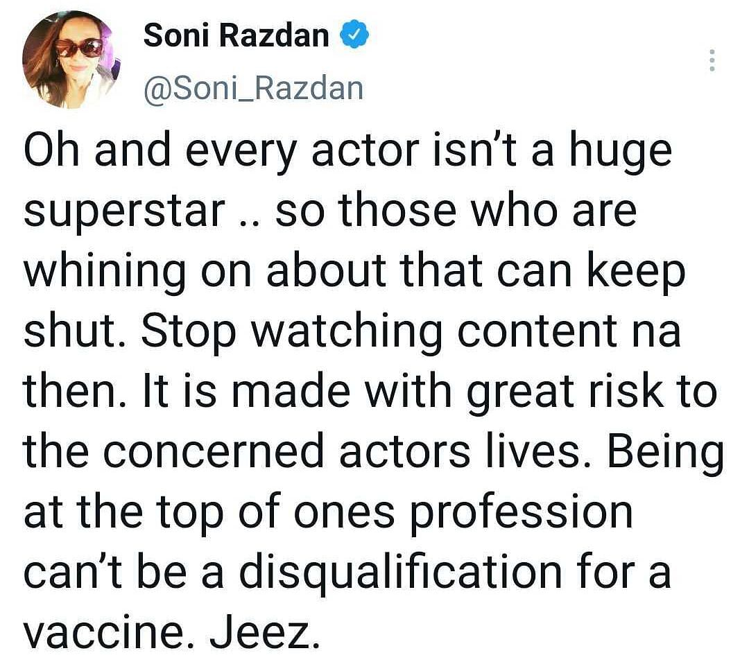 'We actually can't wear masks': Soni Razdan demands Covid-19 vaccine for actors