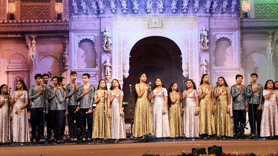School children perform at a cultural event 'Anugoonj-2021' in Bhopal, Tuesday.
