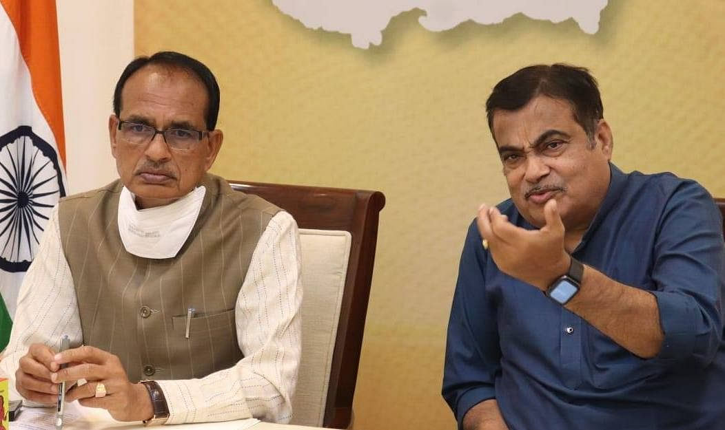 Chief minister Shivraj Singh Chouhan with union minister Nitin Gadkari in  Bhopal on Sunday