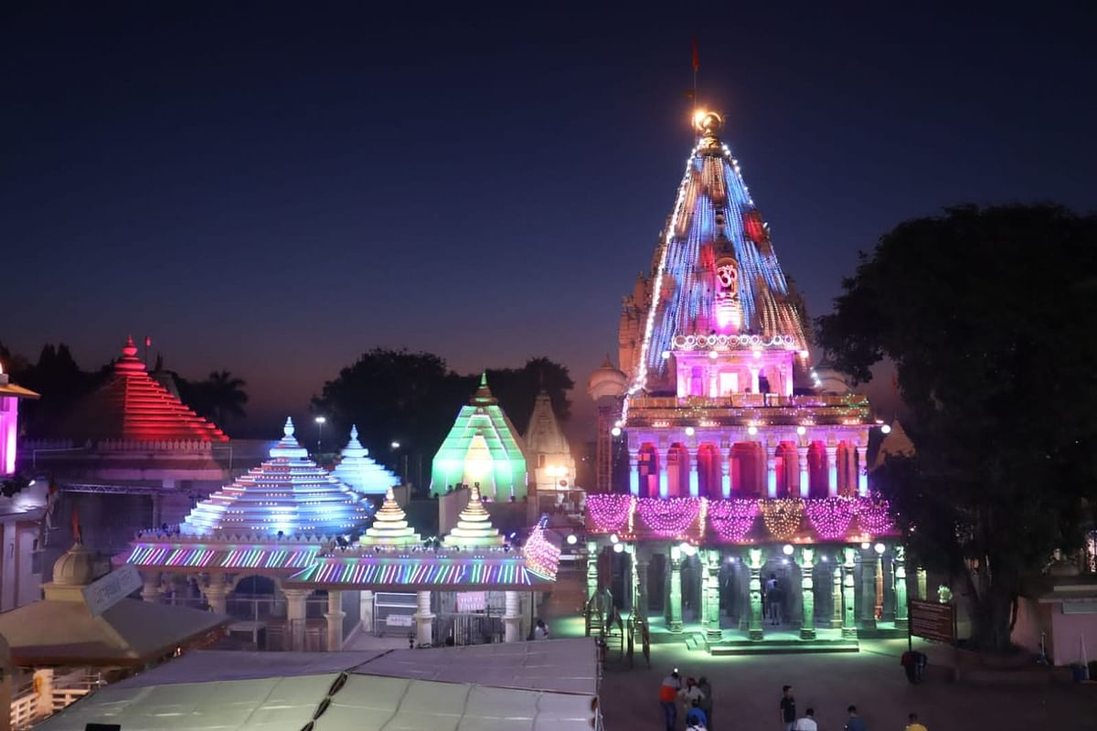 Mahakal Temple being decked up with electric lights on account of 9-day Maha Shivratri celebrations.