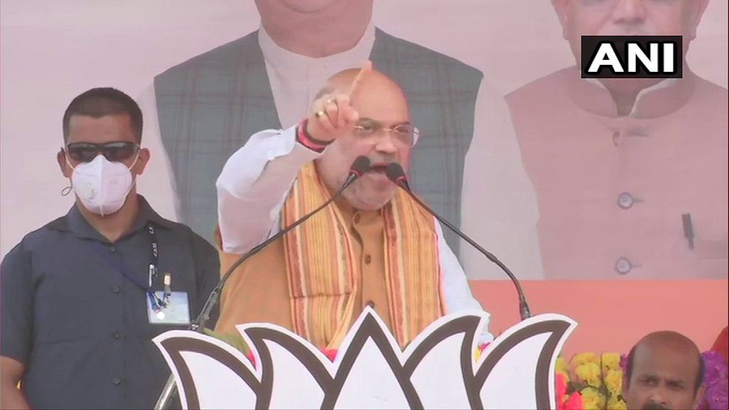 Amit Shah speaking at a rally in Egra, West Bengal