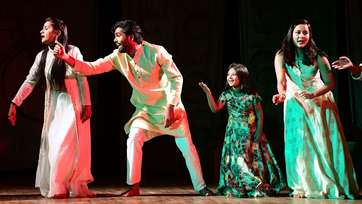A scene from a play, Majnu Laausment, staged at Shaheed Bhawan in Bhopal on Friday