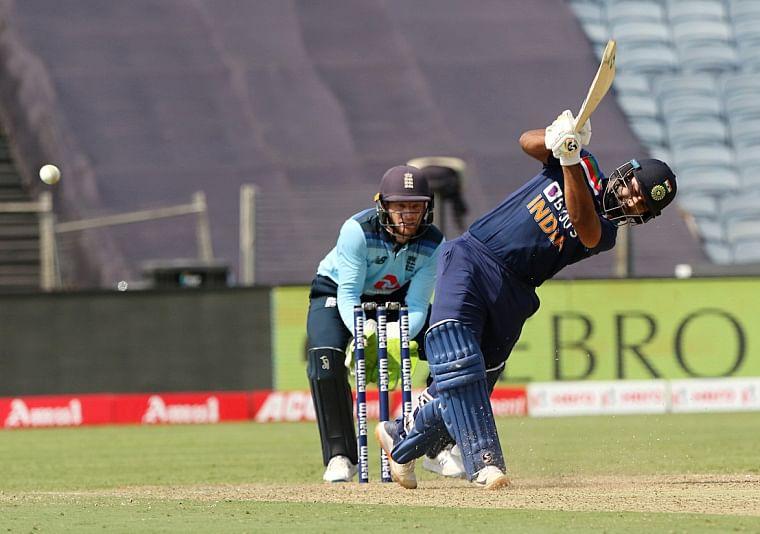 India's Rishabh Pant plays a shot during the 3rd ODI between India and England at Maharashtra Cricket Association Stadium in Pune on Sunday.
