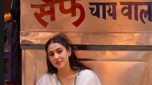 Sara Ali Khan poses outside 'Saif chai wala', jokes 'I love my dad'