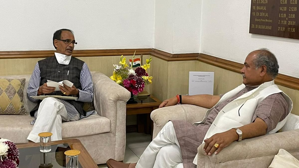 Chief Minister Shivraj Singh Chouhan calls on Union minister of agriculture Narendra Singh Tomar in New Delhi on Saturday.