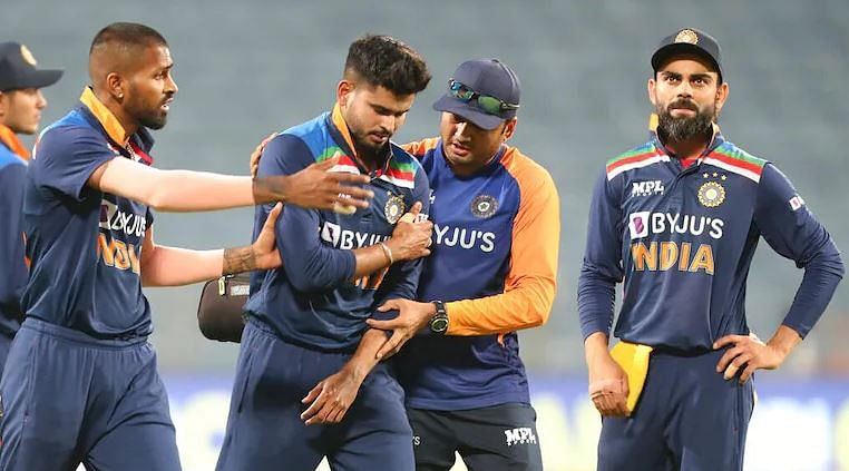 Injured Shreyas Iyer being attended to by a physio in Pune.