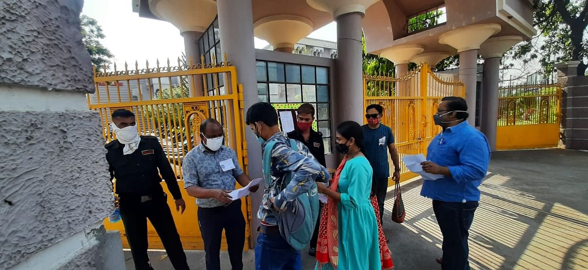 Those appearing for MPPSC exams were checked at Sarafa Vidya Niketan examination centre near MOG Lines in Indore on Sunday morning
