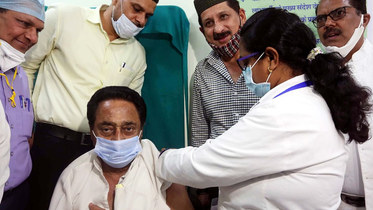 Kamal Nath receiving first dose of vaccine against Coronavirus at Hamidia Hospital in Bhopal