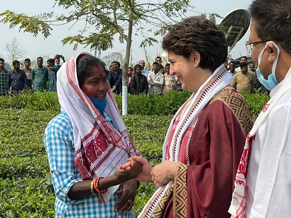 Priyanka Gandhi Vadra interacting with tea garden workers at Sadhuru tea garden, Biswanath, Assam.