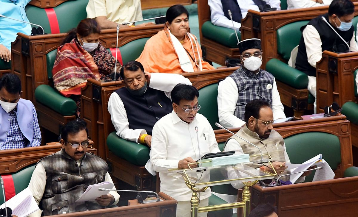 Finance minister Jagdish Devda presents the Budget in the Vidhan Sabha on Tuesday.
